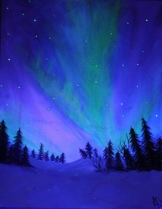 """Snow and Northern Lights"""